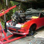 Using crane to remove engine