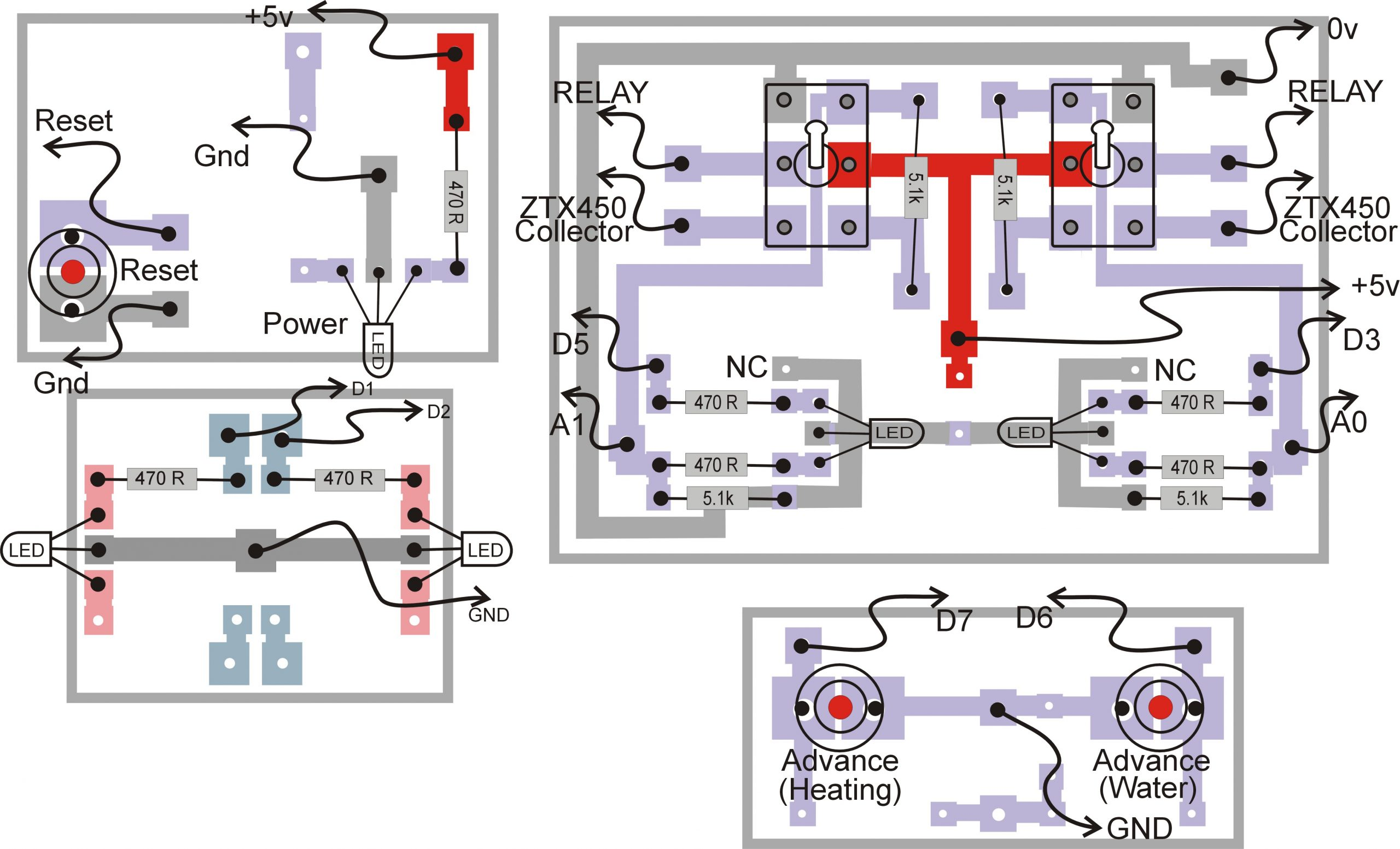 Pcb layout, switches, boiler timer
