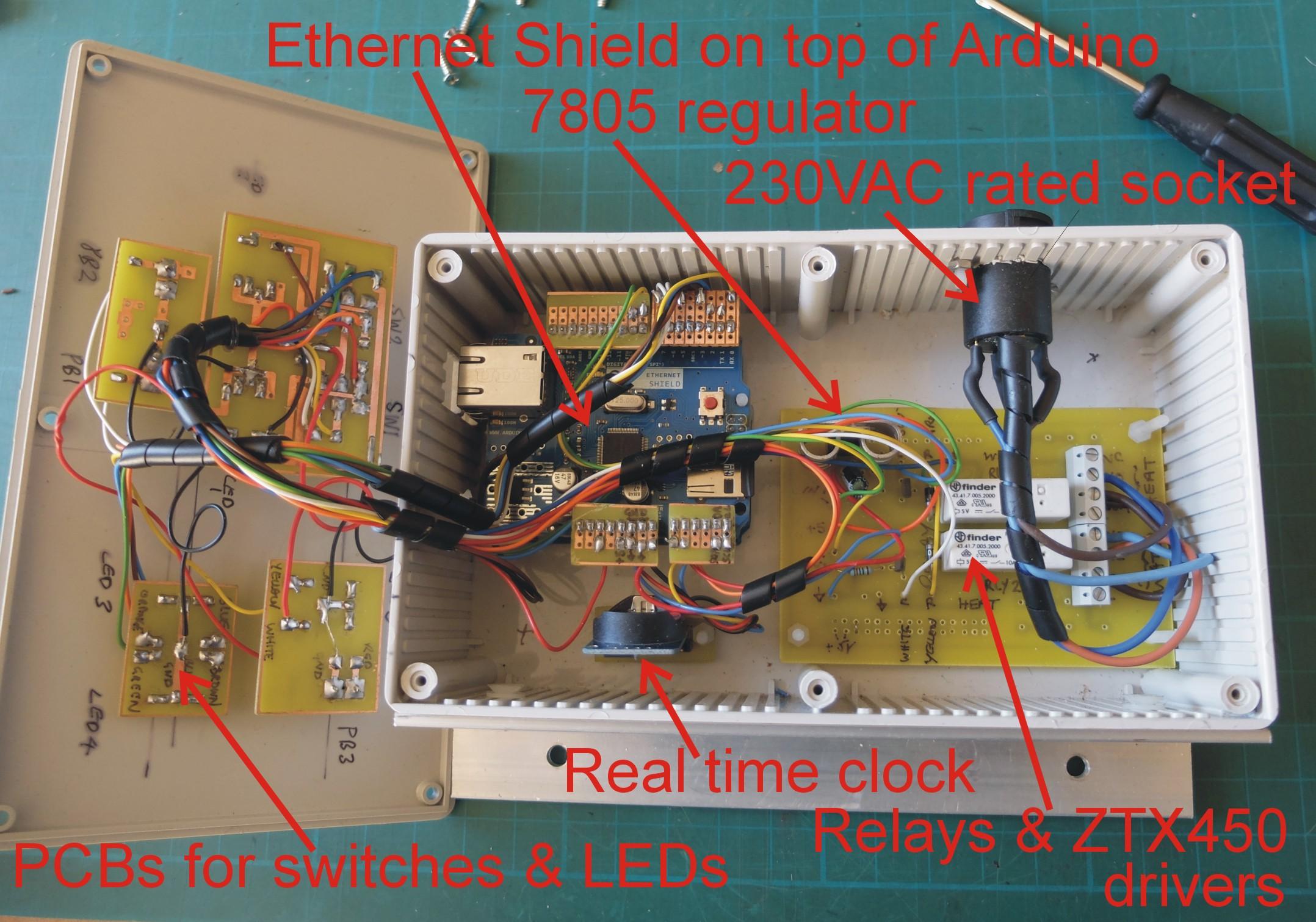 Inside the central heating boiler timer
