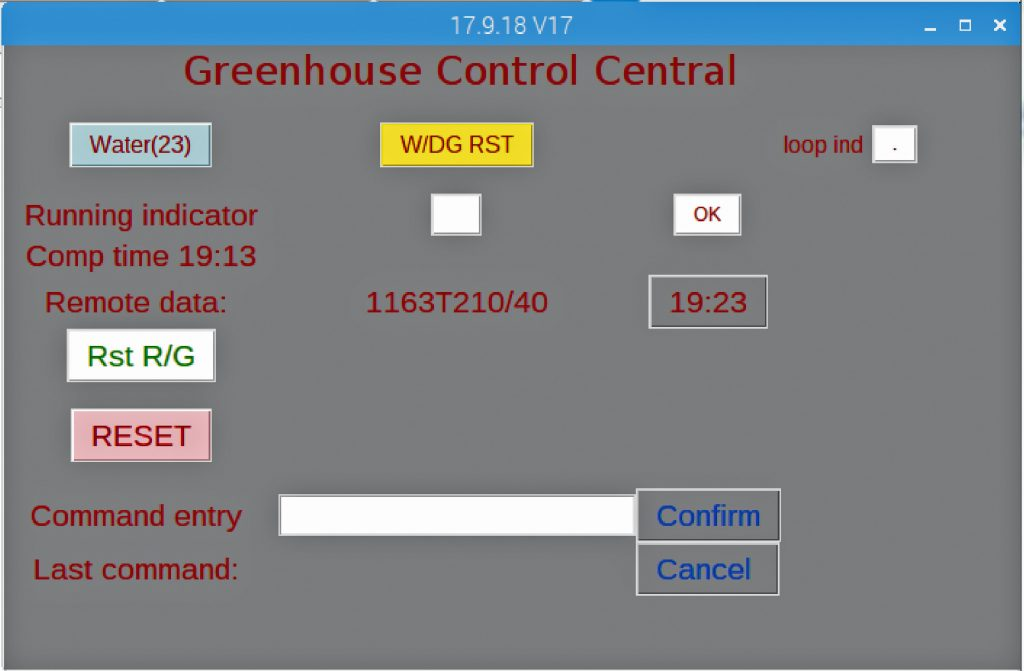 Greenhouse controller control panel