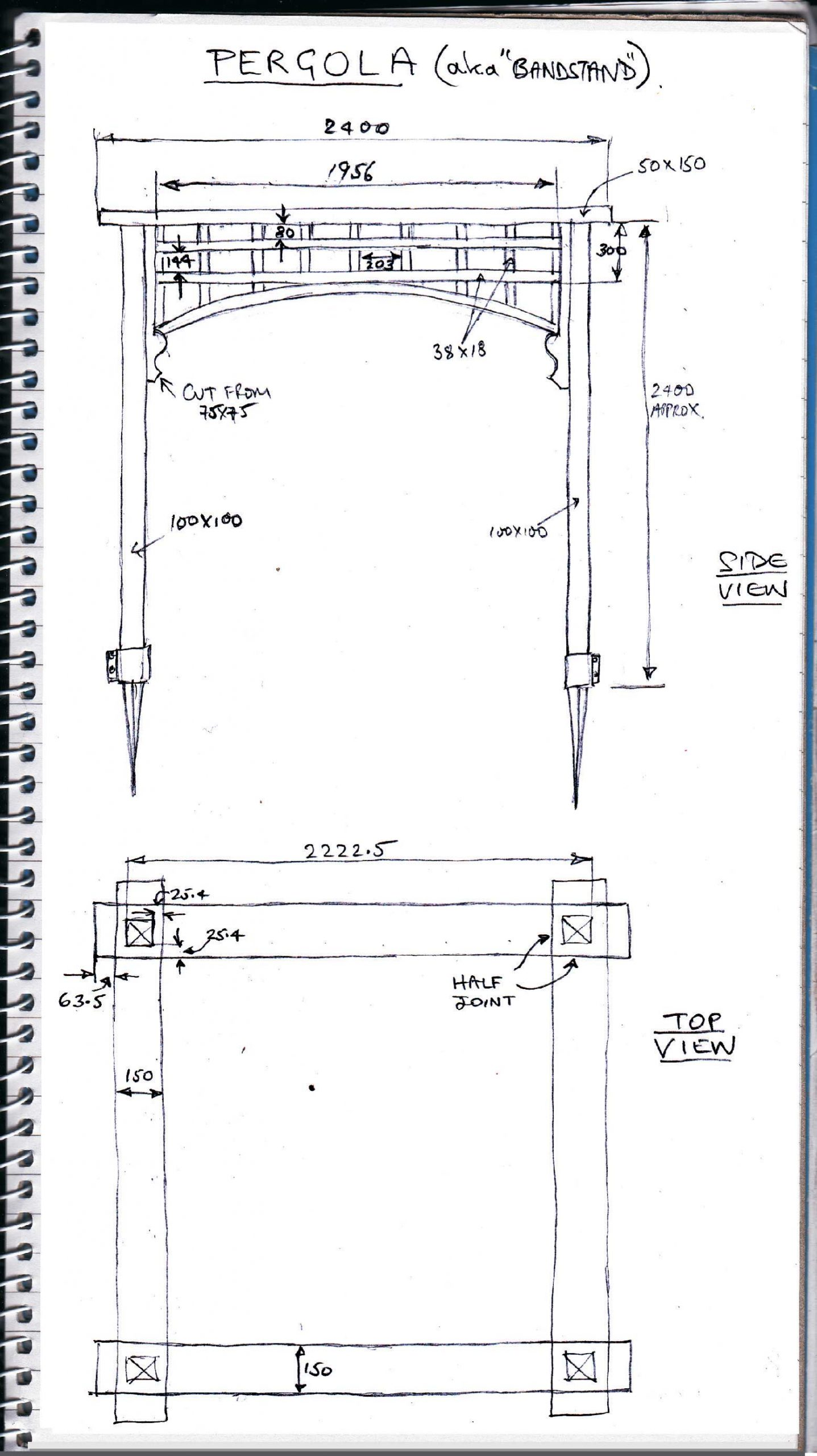 Sketch plan for a pergola