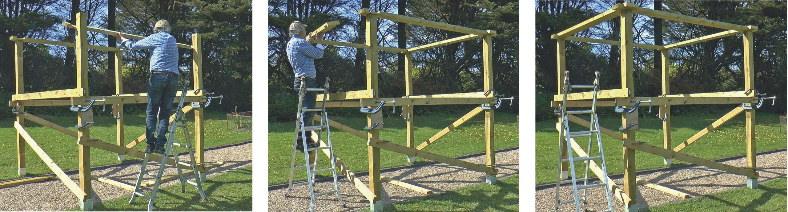Putting the pergola top beams in place