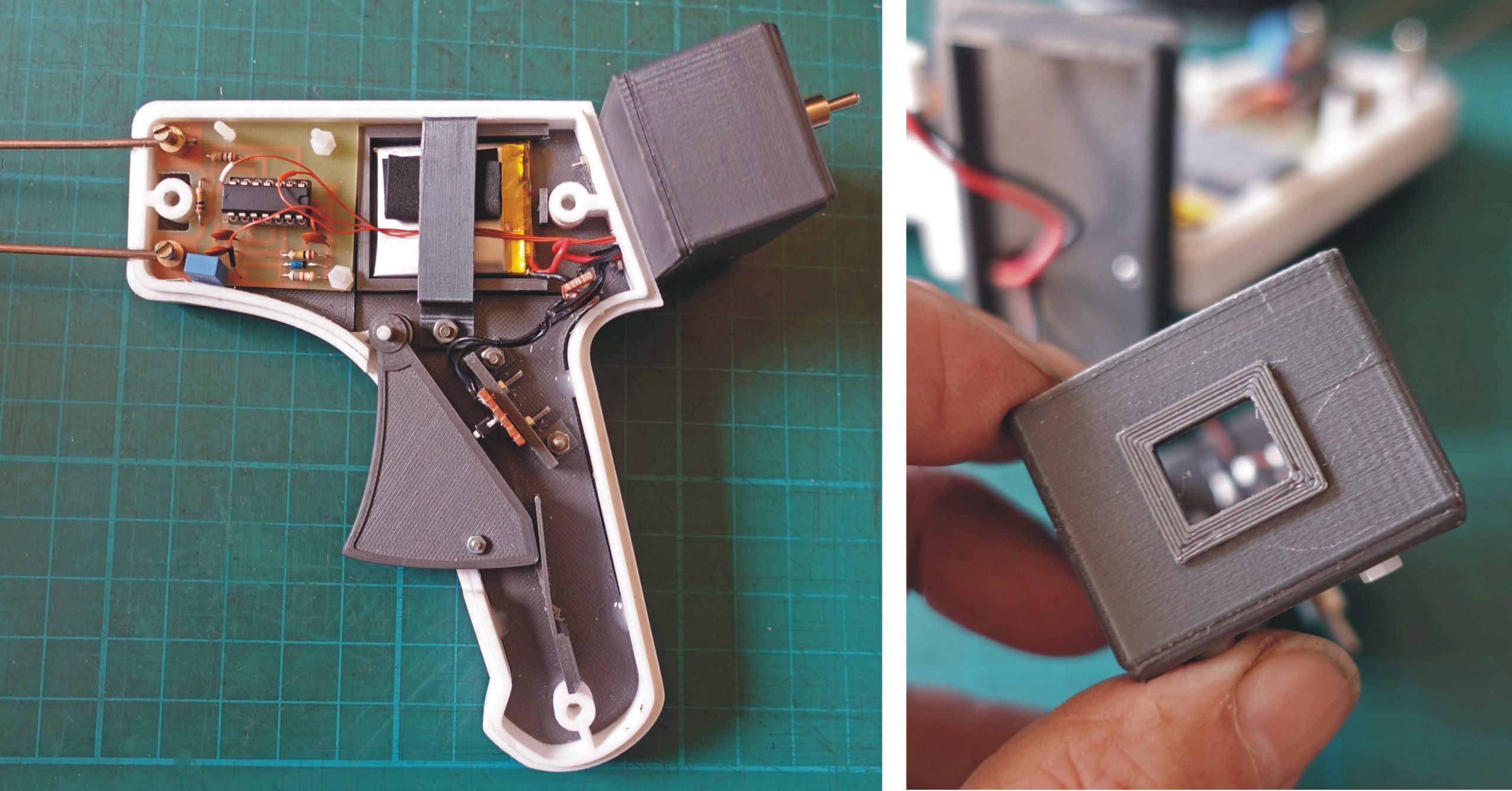 soil tester partially assembled and charging port.