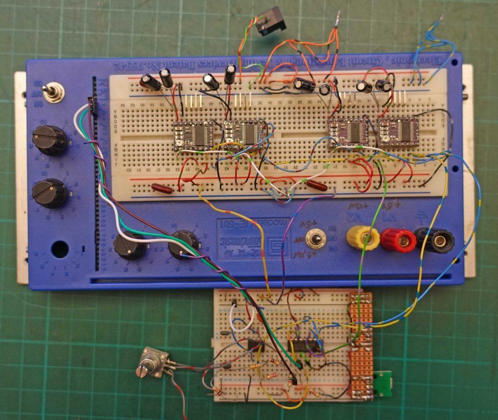 Breadboard, laser cutter bed motor control