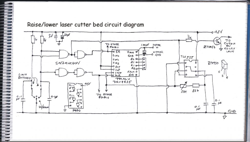 Laser cutter bed drive circuit