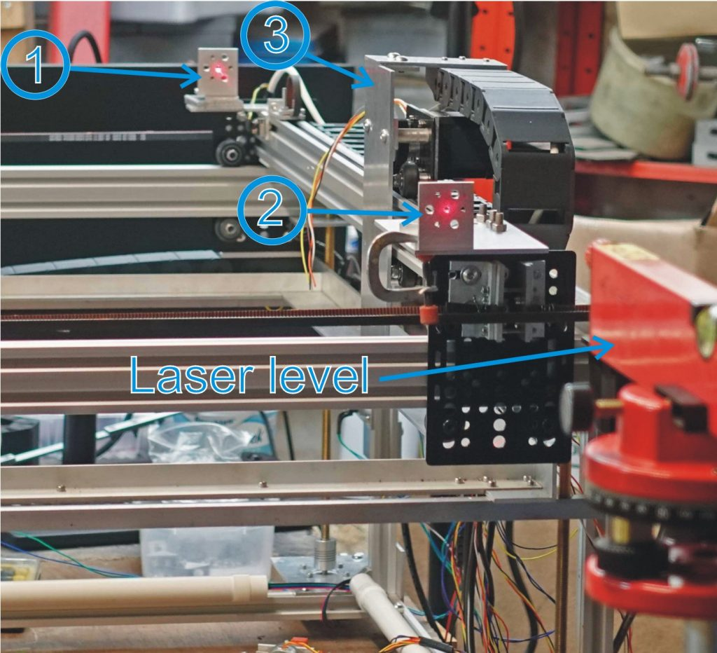 Using a laser level to esiablish the position of components