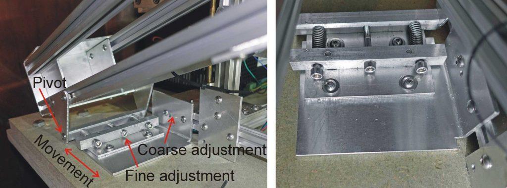 Laser cutter laser cradle rear pivot adjustment