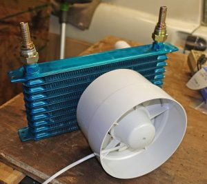 Laser cooling radiator and fan